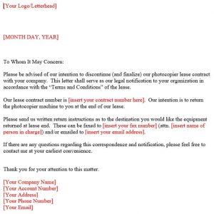 Screenshot of copier machine lease termination letter sample