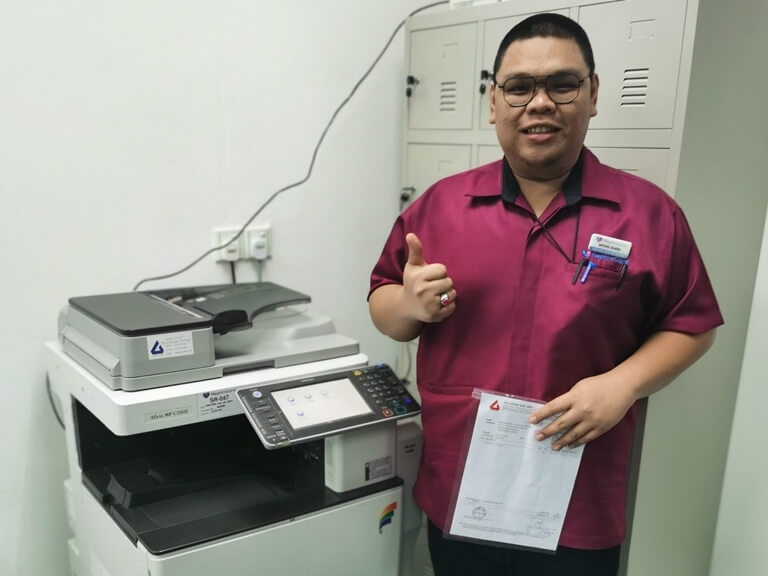Happy Customer Giving Thumbs Up To Our Copier Rental Service at Kuala Lumpur