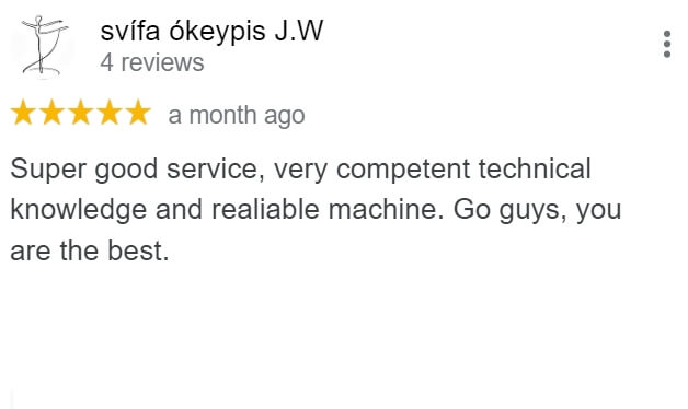 Review from a client who is happy with The Copier Guy's technician and reliable copy machine